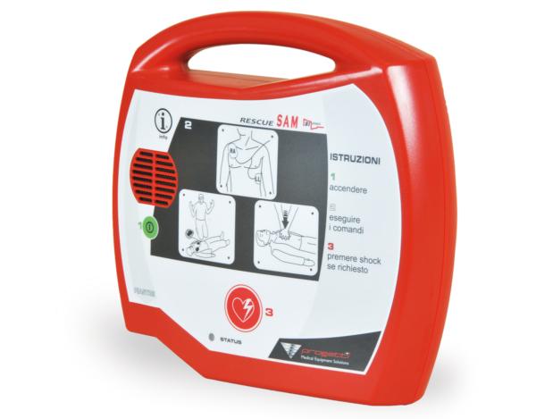 Défibrillateur automatique externe DAE Rescue Sam dérrier