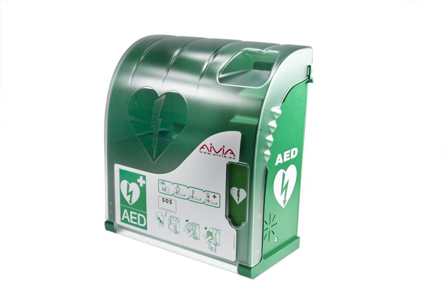 Teca per defibrillatore aed per l'esterno