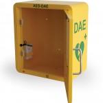 dettaglio interno teca per defibrillatore con allarme