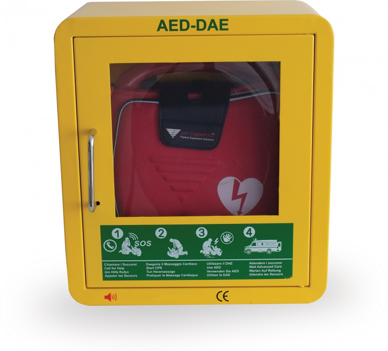 teca per defibrillatore da esterno riscaldata
