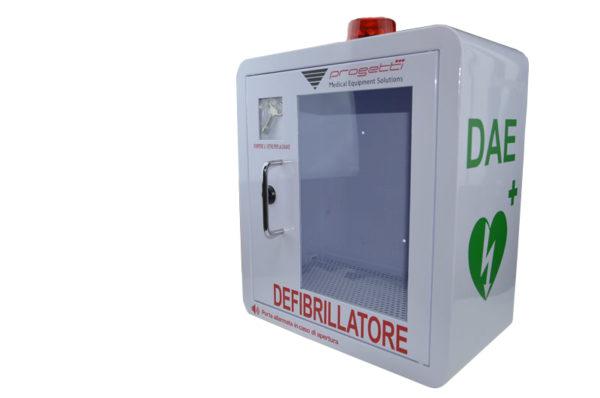 Teca per defibrillatore allarmata con chiusura a chiave